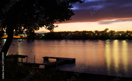 Photo Hudson River looking to the docks of Albany NY from Renssalear on a fall day at