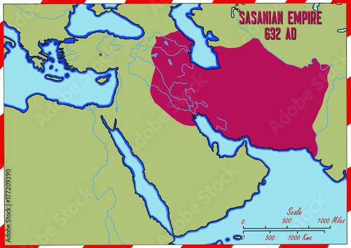 Original Hand Drawn Map The Sasanian Empire In 632 Ad It Is Also