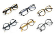 canvas print picture - Group of modern fashionable spectacles isolated on white background, Perfect reflection, Glasses