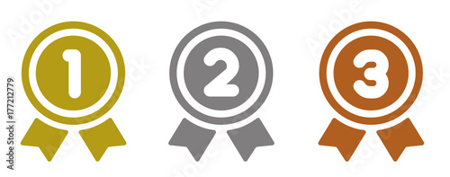 Obraz ranking medal icon illustration set. from 1st place to 3rd place (gold/silver/bronze). - fototapety do salonu