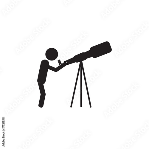 Photo Astronomy. scientist looking through a telescope icon