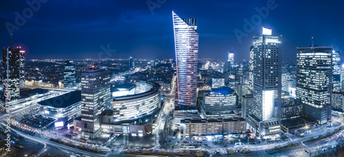 Fototapeta Panoramic view of Warsaw downtown during the night obraz
