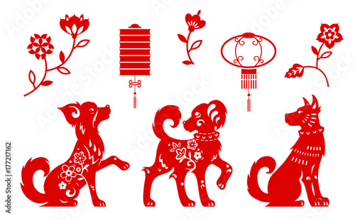f6742fafef47a Vector set of red dogs for design of Chinese new year and traditional  elements of paper