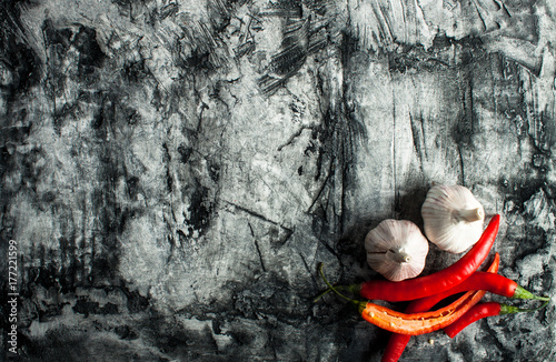 Red chilli pepper with garlic Poster