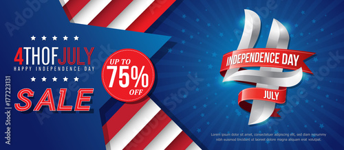 Photo  4th july happy independence day sale banner template design with red ribbons on