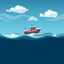 Sea Illustration. Steam Boat O...