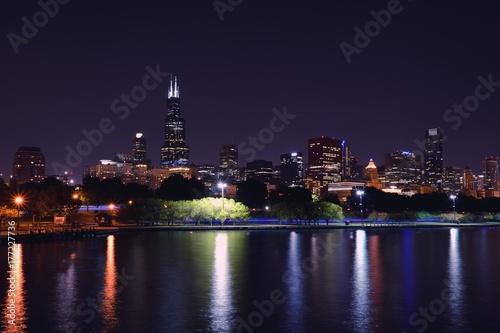 Poster Chicago Chicago night skyline, Usa.