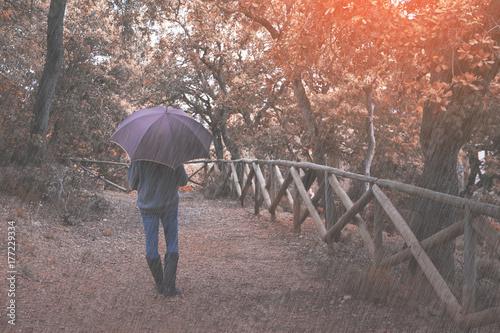 Papiers peints Cappuccino Walking in the autumn rain