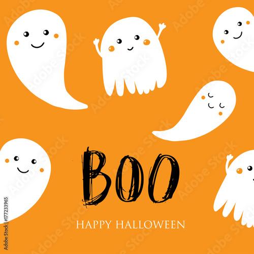 Vászonkép Cute halloween invitation or greeting card.