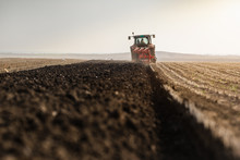Tractor Plowing Fields  -preparing Land For Sowings