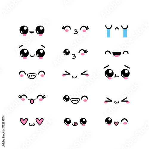 Photo set kawaii faces character with expression design