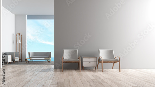 Modern Interior Living Room Wood Floor With Sofa Set Wating Chair