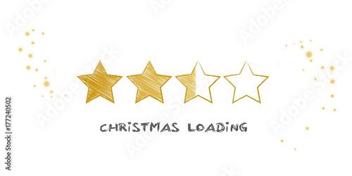 Photo Ladebalken Weihnachten Vekror Illustration mit goldenen Sternen auf weißem Grund