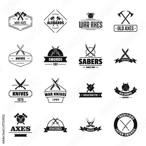 Fotografía  Steel arms logo icons set, simple style
