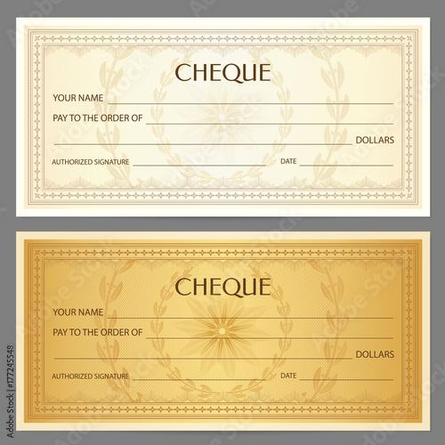 Photo  Check (cheque), Chequebook template