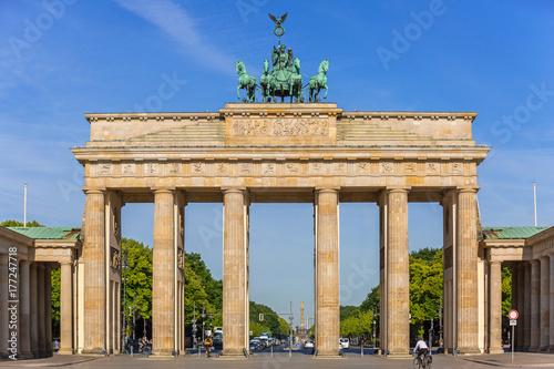 The Brandenburg Gate in Berlin at sunrise, Germany Poster