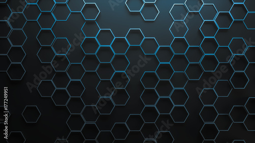 Fotografia Blue abstract hexagonal geometric background