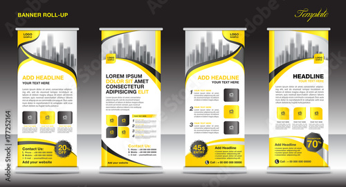 Photo  Roll up banner stand template, stand design,banner template, yellow banner, adve