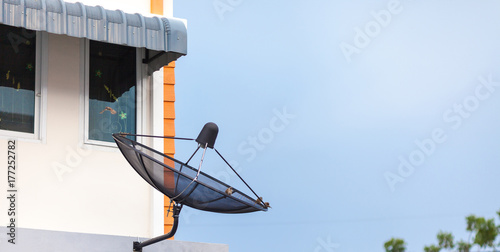 TV Satellite Dish antennas at building roofs   - Buy this stock