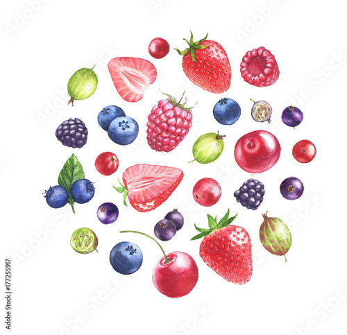 Hand drawn watercolor illustration of the different berries: Blueberry, blackberry, raspberry