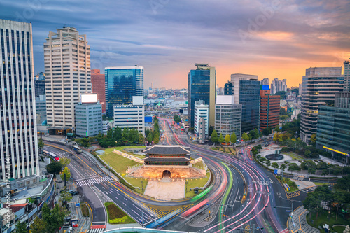 Seoul. Image of Seoul downtown with Sungnyemun Gate during sunset.