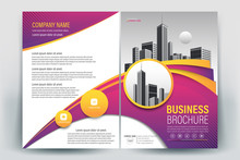Brochure Cover Layout With Purple And Yellow Wavy Line  , A4 Size Vector Template