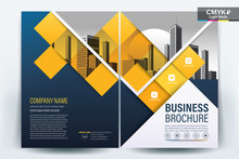 Brochure Cover Layout With  Blue And Yellow Square , A4 Size Vector Template