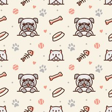 Pug Dog And Cat With Bone, Fish Bones, Paw Prints And Ball Seamless Pattern Vector Background