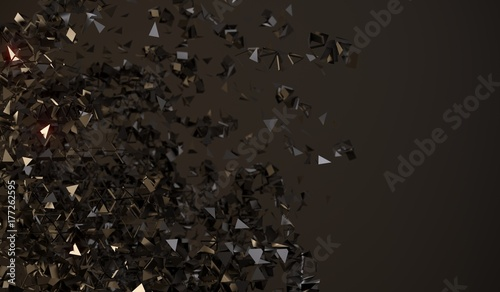3D Rendering Of Abstract Flying Chaotic Particles On Dark Background - 177262595