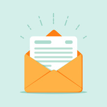 Open Envelope With A Document. New Letter. Sending Correspondence.