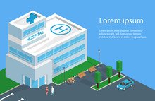 Isometric 3D Vector Illustration Hospital Building And Ambulance With Parking Spaces And Park With Benches
