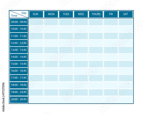 Obraz Weekly Template for Seven Days with Timeline - fototapety do salonu