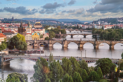 Foto op Plexiglas Praag Prague city skyline and Charles Bridge, Prague, Czech Republic