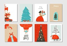 Hand Drawn Vector Abstract Fun Merry Christmas Time Cartoon Cards Collection Set With Cute Illustrations,surprise Gift Boxes ,Christmas Tree And Modern Calligraphy Isolated On White Background