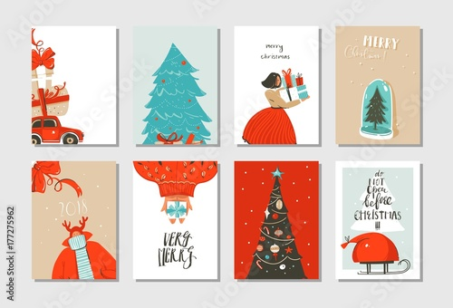 Christmas Illustrations.Hand Drawn Vector Abstract Fun Merry Christmas Time Cartoon