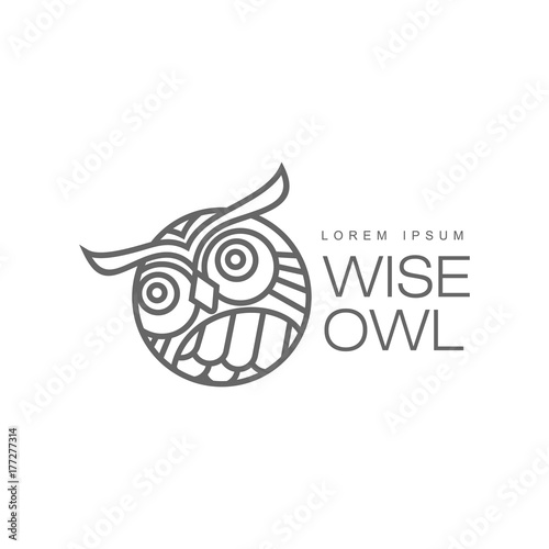 Poster Uilen cartoon wise hand drawn wise owl head closeup ,brand logo stylized design silhouette pictogram. Line icon bird isolated illustration on a white background.