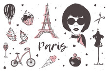 Set Of Paris And France Elements - Stylish Parisian Woman, Perfume, French Croissant, Eiffel Tower, Glass Of Champagne Hand Drawn In Doodle Style And Isolated On White Background. Vector Illustration.