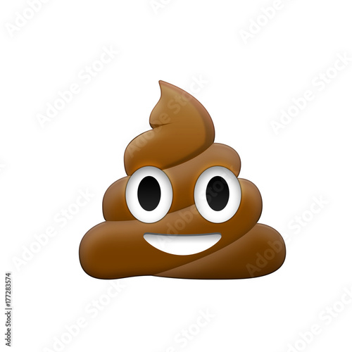 Valokuvatapetti Brown feces with eye and mouth icon
