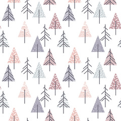 FototapetaAbstract geometric seamless repeat pattern with christmas trees.
