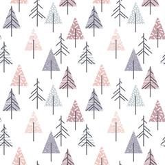Fototapeta Skandynawski Abstract geometric seamless repeat pattern with christmas trees.