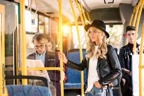 stylish girl in bus Fototapet