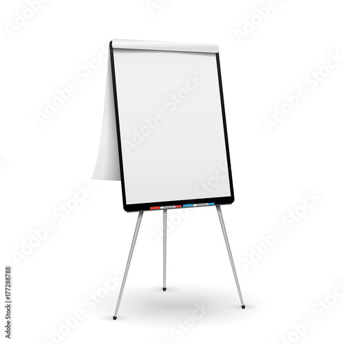 Realistic Flip Chart Vector. Good For Presentation, Seminar. Isolated Illustration