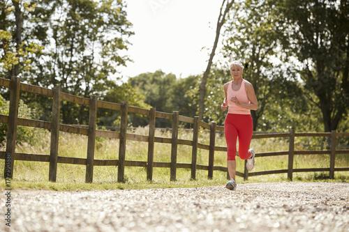Zdjęcie XXL Zdrowa Starsza kobieta Cieszy się bieg Przez wsi
