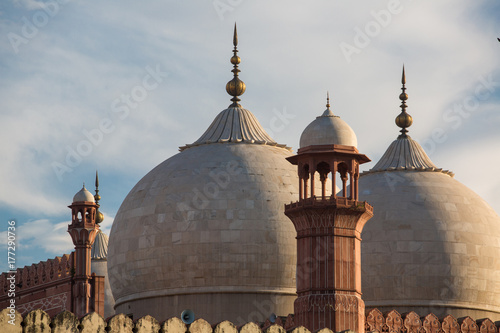 The Emperor's Mosque - Badshahi Masjid in Lahore, Pakistan Dome with Minarets Closeup