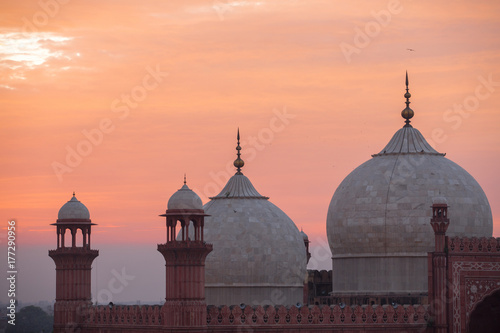 The Emperors Mosque - Badshahi Masjid at sunset