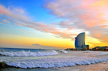 Barcelona Beach On Sunset