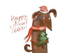 Dog Dachshund In Christmas Hat With Christmas Tree. Illustration