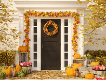 Autumn Decorated House With Pu...