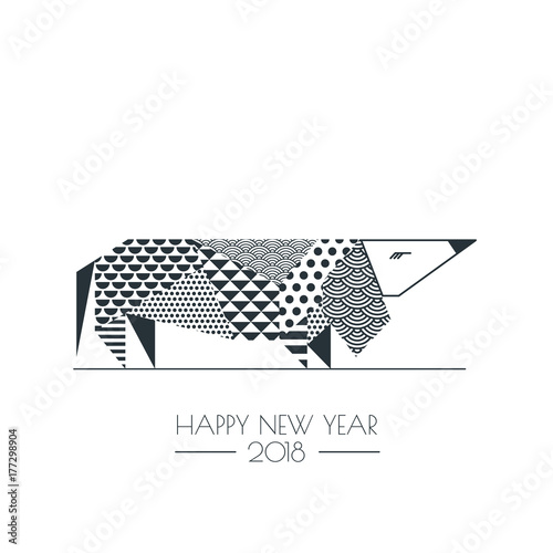 vector black white illustration of dachshund dog with abstract geometric triangle texture creative new year
