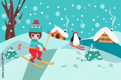 Merry Christmas collection background with cute chibi girl skiing and penguin Poster